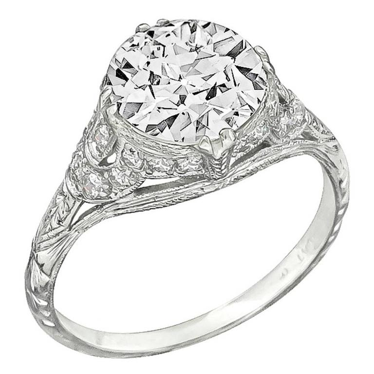 Stunning 2.02 Carat GIA Cert Diamond Platinum Engagement Ring 1