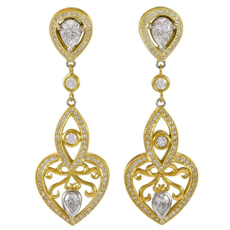 Diamond Gold Dangle Earrings