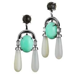 Alexandra Mor Black Rutilated Quartz Moonstone Green Opal Diamond Arch Earrings
