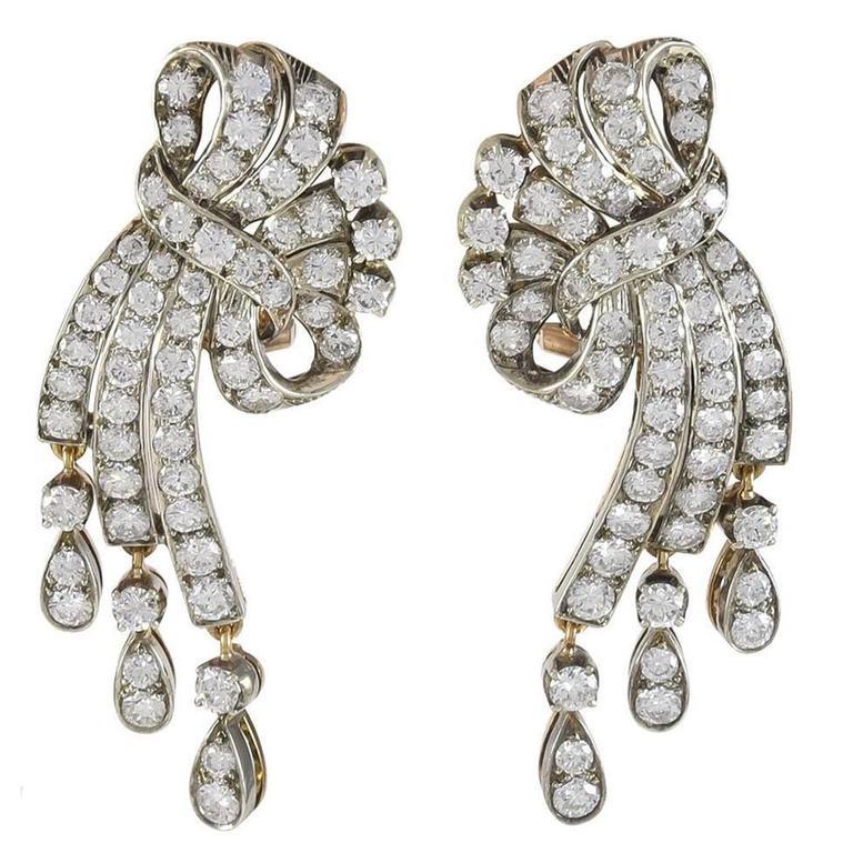 Diamond Gold Ribbon Earrings