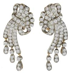 Diamond Gold Ribbon Earrings