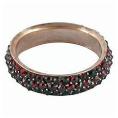 Antique Bohemian Garnet Gold Eternity Band Ring