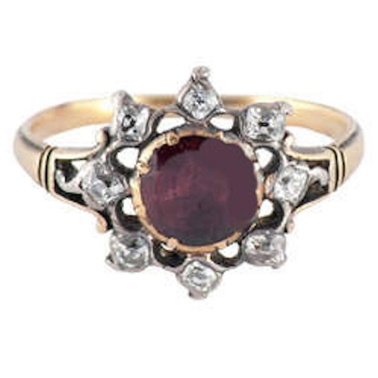 Antique Almondine Garnet Diamond Silver Gold Cluster Ring