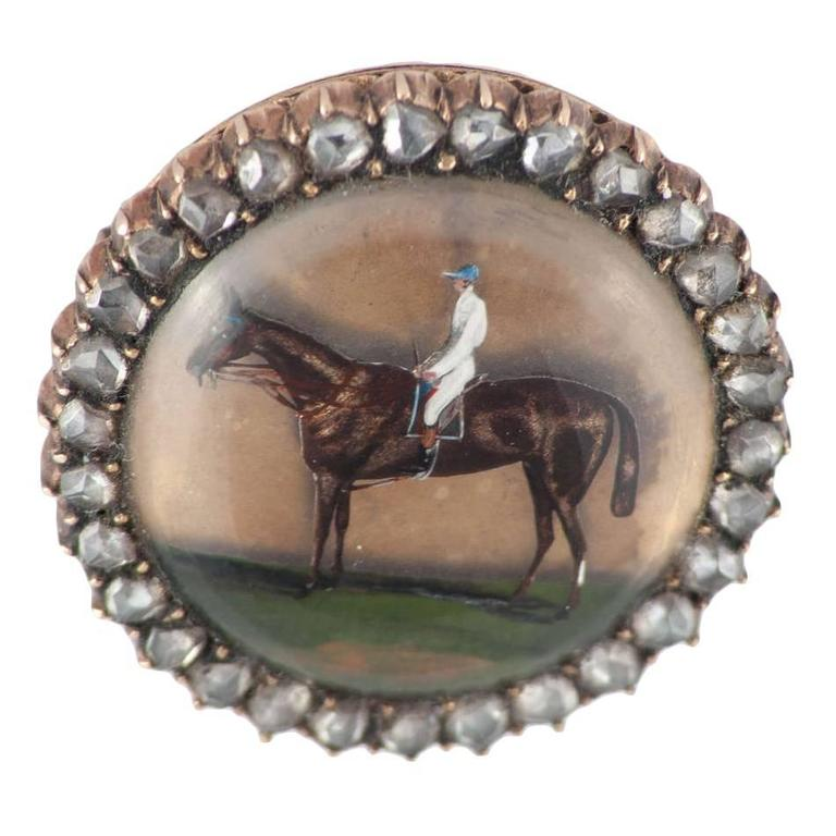 Antique Victorian Essex Crystal Gold Jockey and Horse Brooch