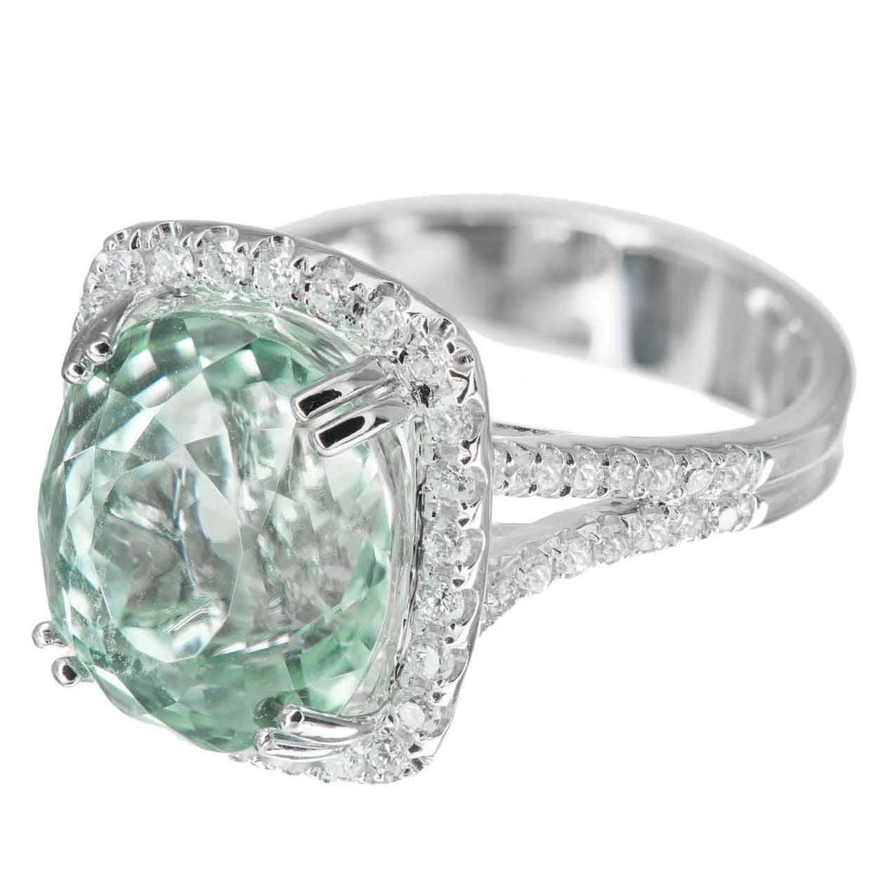 oval natural light green tourmaline diamond gold ring for. Black Bedroom Furniture Sets. Home Design Ideas