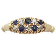 1900s Antique Sapphire and Diamond Yellow Gold Cocktail Ring