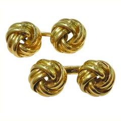 Jona Double Knot 18 Karat Yellow Gold Cufflinks