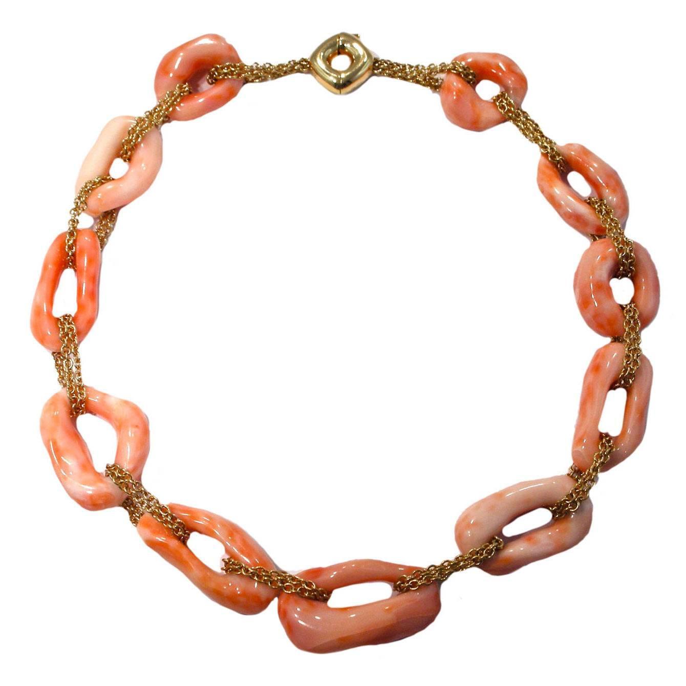 Jona Mediterranean Coral 18 Karat Yellow Gold Link Necklace