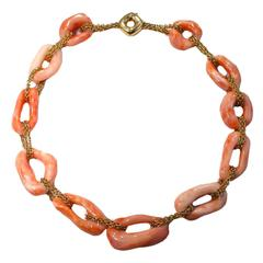 Jona Coral Gold Link Necklace