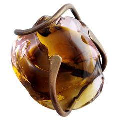 Claire Falkenstein Bronze Handblown Glass Pendant