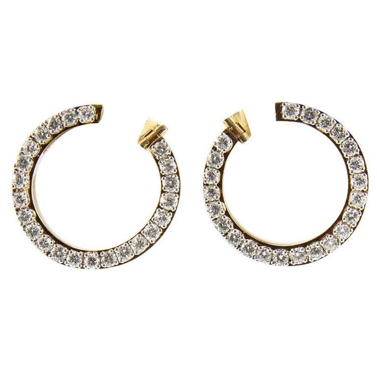 Circle of Diamonds Gold Hoop Earrings
