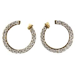 Circle of Diamonds Gold Hoop Earrings