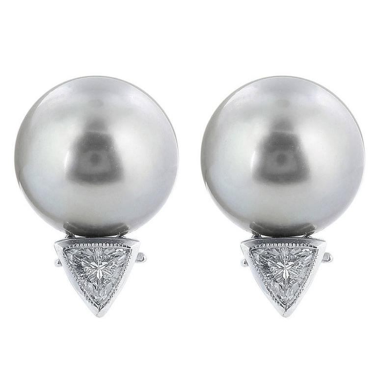 Tahitian Pearl Diamond Platinum Stud Earrings