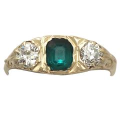 1910s Antique Emerald and Diamond Yellow Gold Cocktail Ring