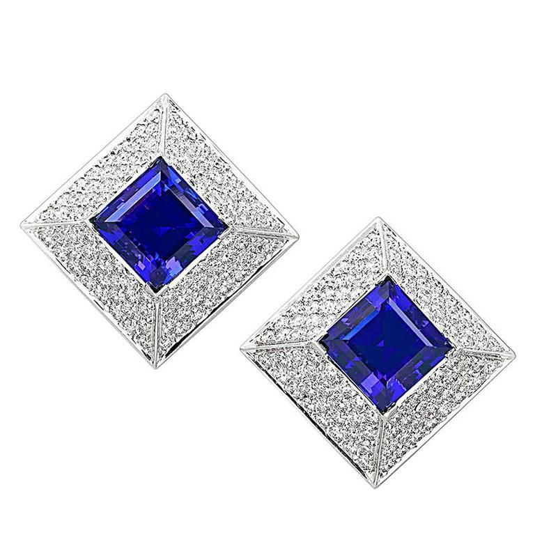 Tanzanite and Diamond Earrings by Samuel Getz