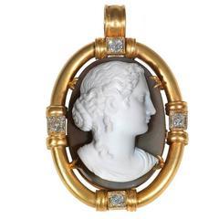 1820s Hardstone Cameo Diamond Gold Pendant