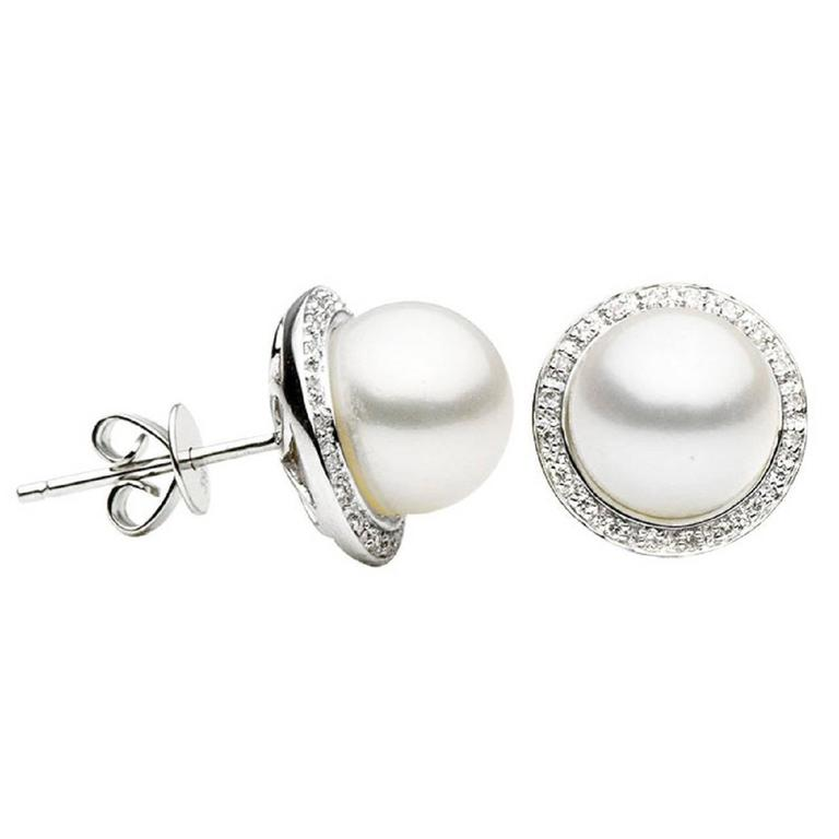 Freshwater Pearl and Diamond Halo White Gold Stud Earrings