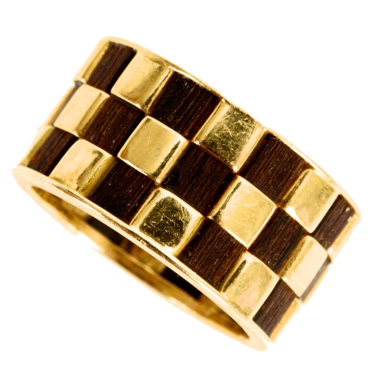 """Van Cleef and Arpels """"Checkerboard"""" Wood Gold Band Ring"""