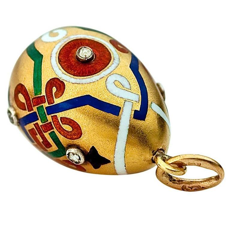 1880s carl faberge enamel gold russian revival egg pendant at 1stdibs 1880s carl faberge enamel gold russian revival egg pendant for sale aloadofball Images