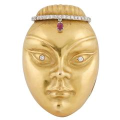 Ruby Diamond Gold Female Mask Brooch
