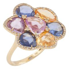 Multicoloured Sapphire Diamond Gold Floral Dress Ring