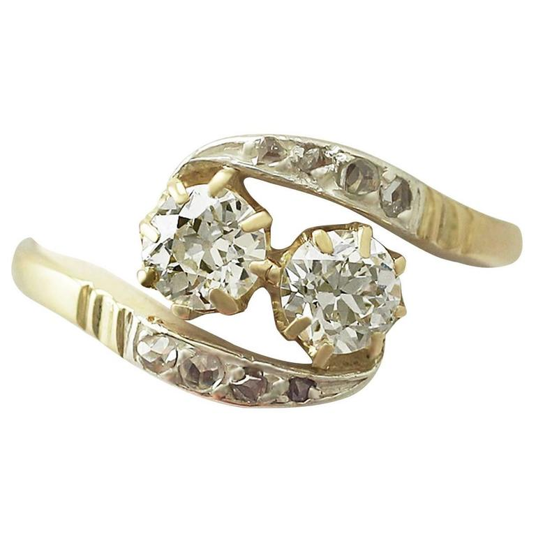 0.91 Carat Diamond and Yellow Gold, Silver Set Twist Ring, Antique circa 1920
