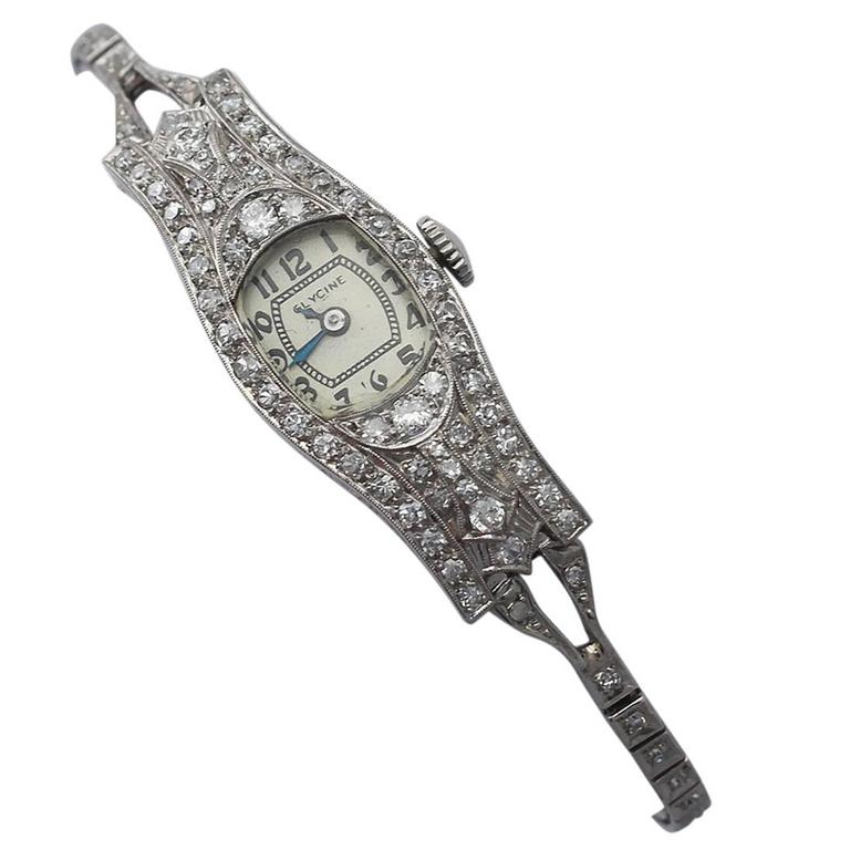 2.36Ct Diamond and Platinum Glycine Cocktail Watch - Art Deco Style - Antique