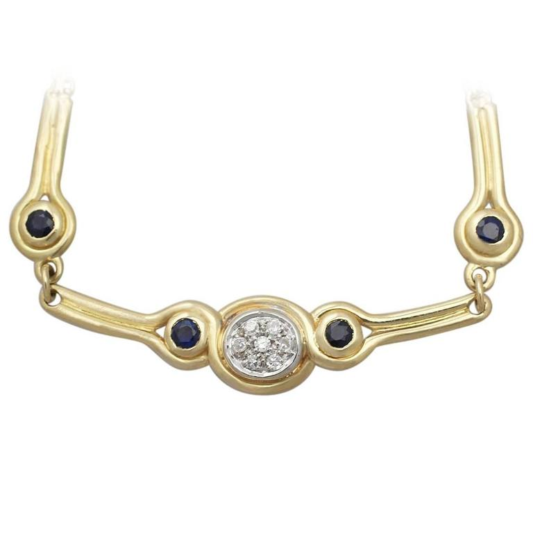 0.15 Ct Diamond and 0.10 Ct Sapphire, 18k Yellow Gold Necklace