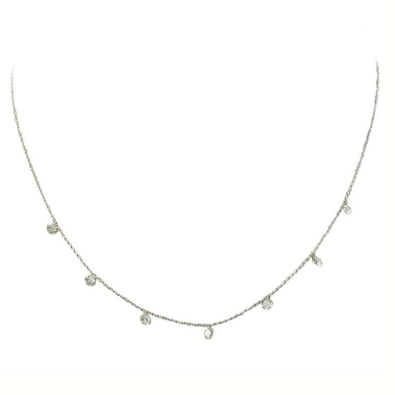 Jona Floating Diamond Platinum Chain Necklace For Sale