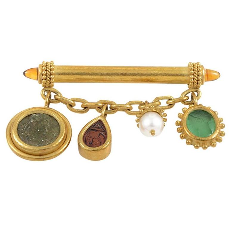 Elizabeth Locke Gemstone Gold Bar Brooch