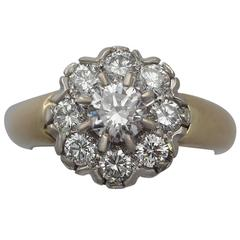 1.15 Carat Diamond and 18 Karat Gold Cluster Ring, Vintage French, circa 1980