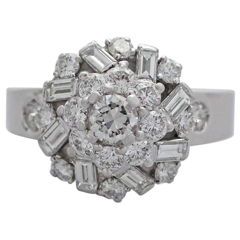 1960s 2.68 Carat Diamond and White Gold Cluster Ring