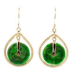 Natural Round Jadeite Jade Gold Dangle Earrings