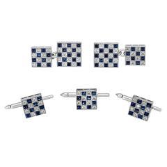 Cartier Sapphire and Diamond Cufflinks Set