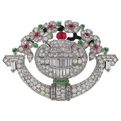 Tiffany & Co. 1920s Art Deco Ruby Emerald Diamond Watch Brooch