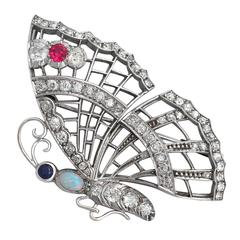 1940s Opal, Ruby, Sapphire and 3.50 Carat Diamond, White Gold 'Butterfly' Brooch