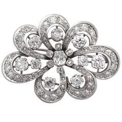 4.50Ct Diamond, 18k White Gold Brooch - Antique Edwardian