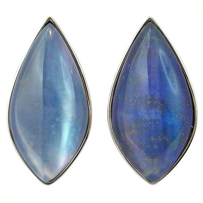 Jona Lapis Lazuli Quartz Mother of Pearl 18 Karat White Gold Stud Earrings For Sale