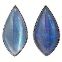 Jona Lapis Lazuli Quartz 18 Karat White Gold Stud Earrings