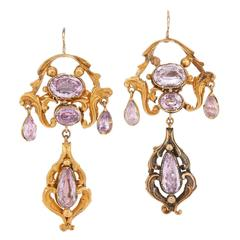 Georgian Yellow Gold Foiled Pink Topaz Chandelier Earrings
