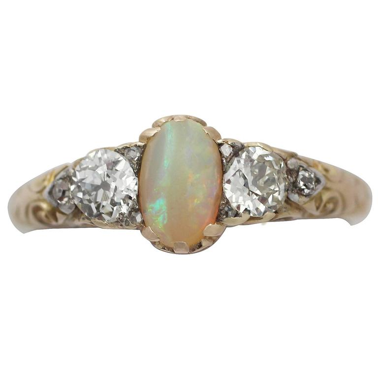 0.48Ct Opal & 0.76Ct Diamond 18k Yellow Gold Trilogy Ring - Antique Victorian 1