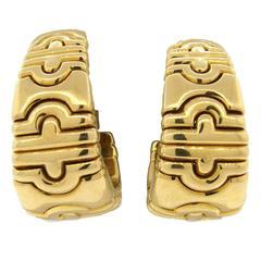 Large Bulgari Parentesi Gold Hoop Earrings