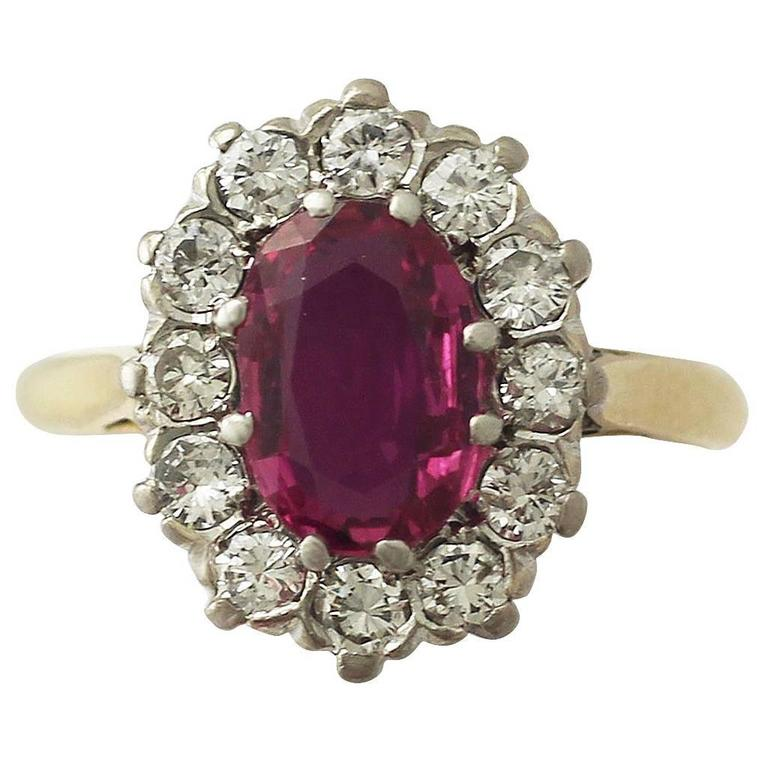 1.26Ct Ruby & 0.60Ct Diamond, 18k Yellow Gold Cluster Ring - Vintage Circa 1950 1