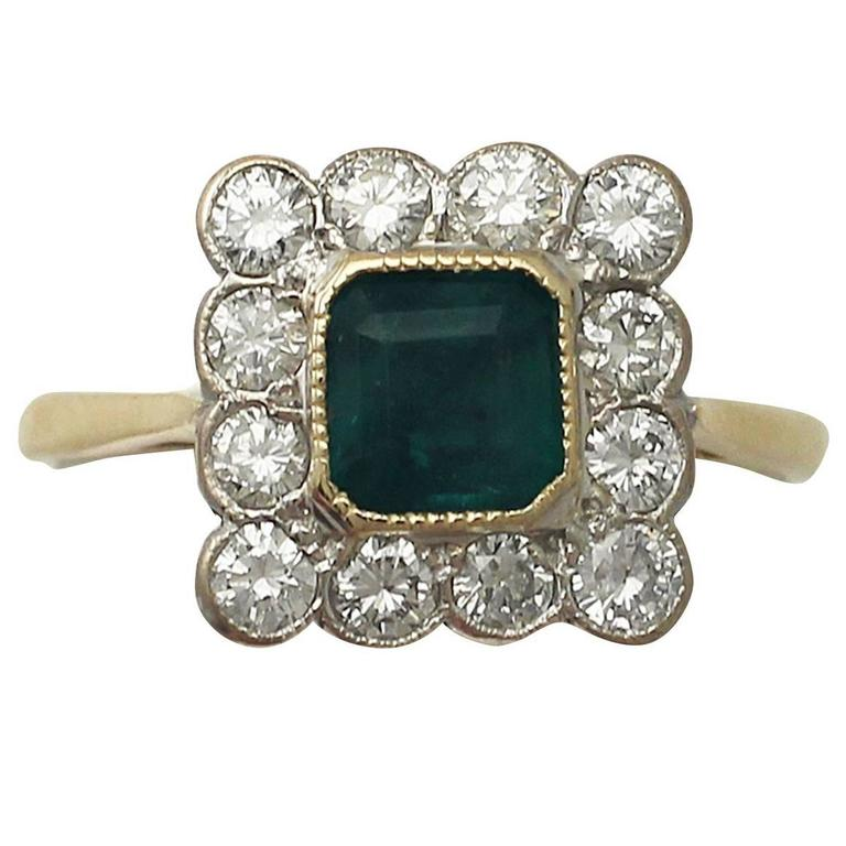 0.88Ct Emerald and 0.60Ct Diamond, 18k Yellow Gold Dress Ring - Vintage 1990
