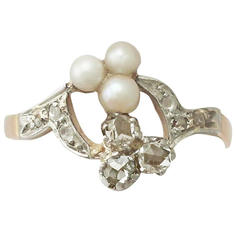 0.30Ct Diamond and Pearl, 18k Rose Gold Cocktail Ring - Antique Circa 1900