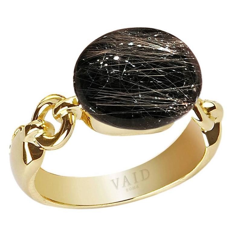 488c5ee62 Vaid Roma Three Dimensional Golden Rutilated Quartz Onyx Gold Ring For Sale