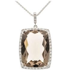 Smoky Cushion Quartz Diamond Gold Pendant Necklace