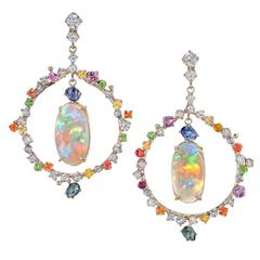 Russell Trusso Certified Matched Opal Multicolor Sapphire Diamond Gold Earrings