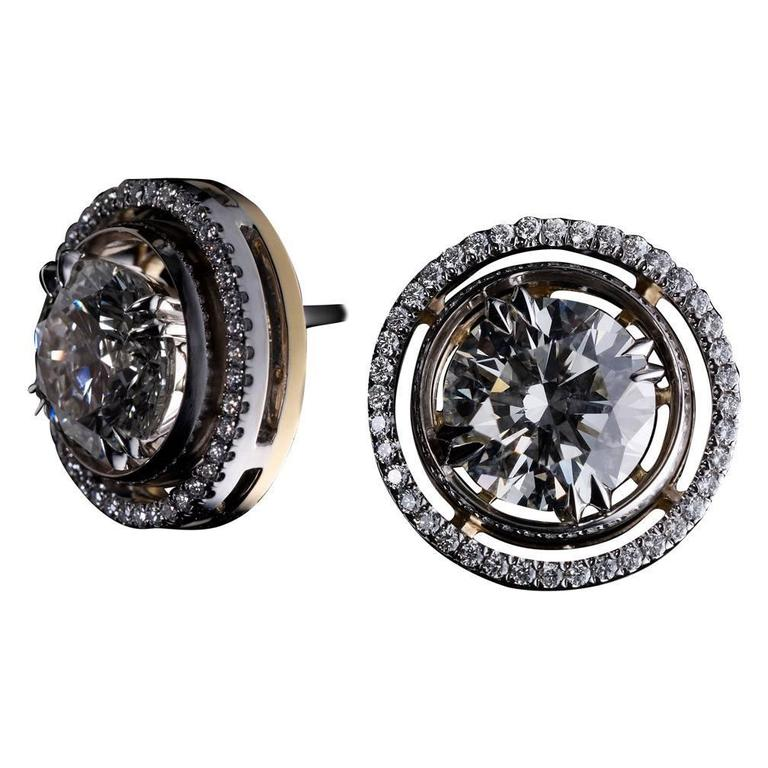 Alexandra Mor Round Diamond Studs with Diamond Earring Jackets For Sale