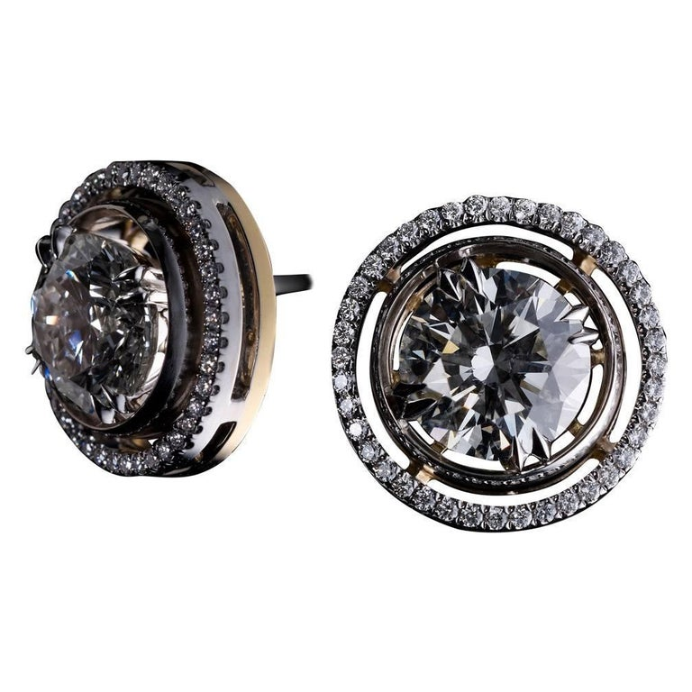 Alexandra Mor Round Diamond Studs with Diamond Earring Jackets For Sale